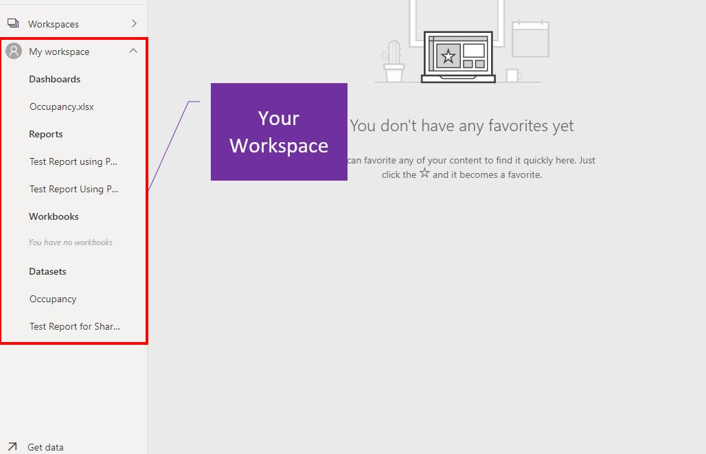 Power BI Online workspace Step 2